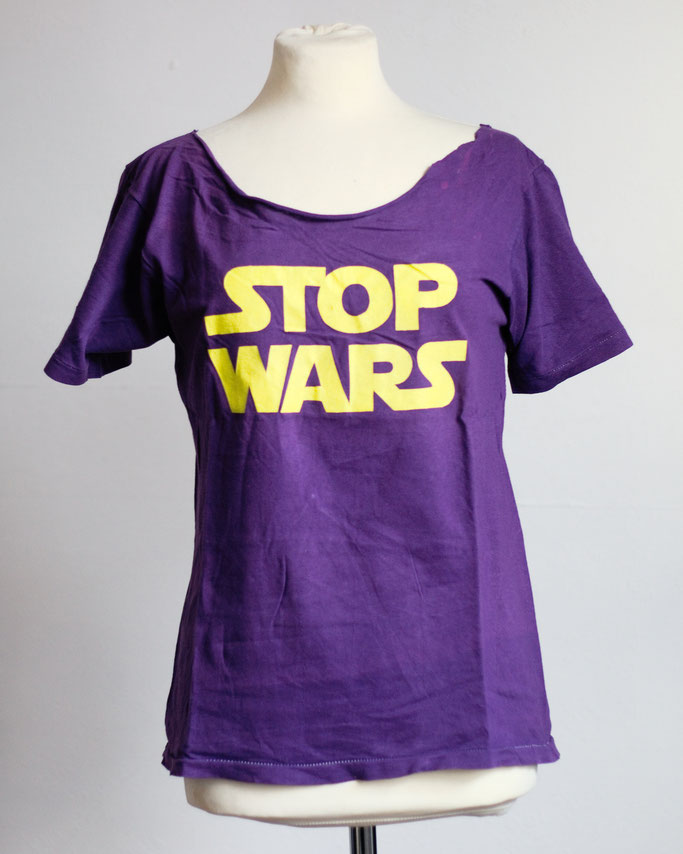 Flohmarkt: Oberteile - Stop Wars DIY T-Shirt lila gelb - Zebraspider DIY Anti-Fashion Blog