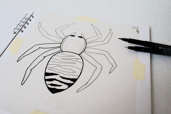 Umwelt oder Menschen? - Zebraspinne Tuschestift - Zebraspider DIY Anti-Fashion Blog