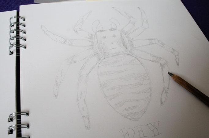 Umwelt oder Menschen? - Zebraspinne Bleistift - Zebraspider DIY Anti-Fashion Blog