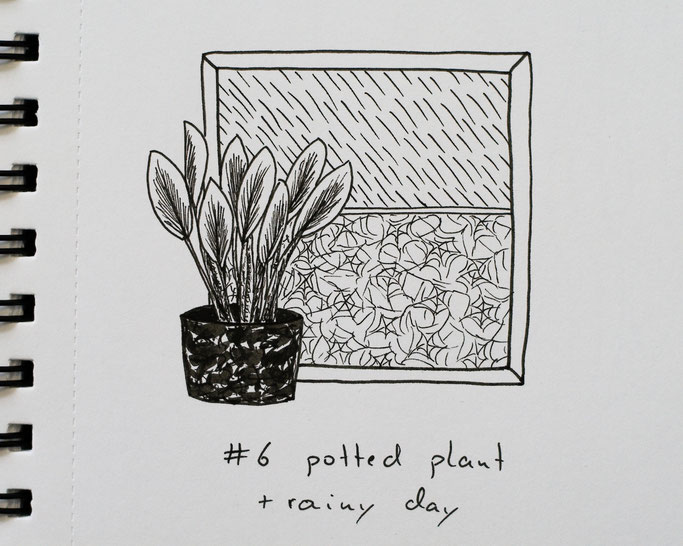 How Inktober 2019 went so far - 6 potted plant and rainy day - Zebraspider DIY Anti-Fashion Blog