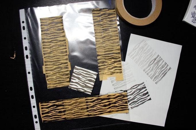 Buttons, Stempel und Verpackung - Zebramuster-Stempel auf Papierklebeband - Zebraspider DIY Anti-Fashion Blog