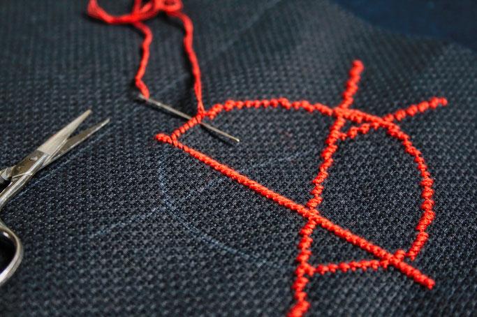 Anarcho-Kreuzstich - Sticken bleibt politisch - Anarchie-A rot auf schwarz - Zebraspider DIY Anti-Fashion Blog
