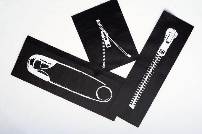 3 neue Aufnäher - auch in groß - Siebdruck weiß auf schwarz - Zebraspider DIY Anti-Fashion Blog