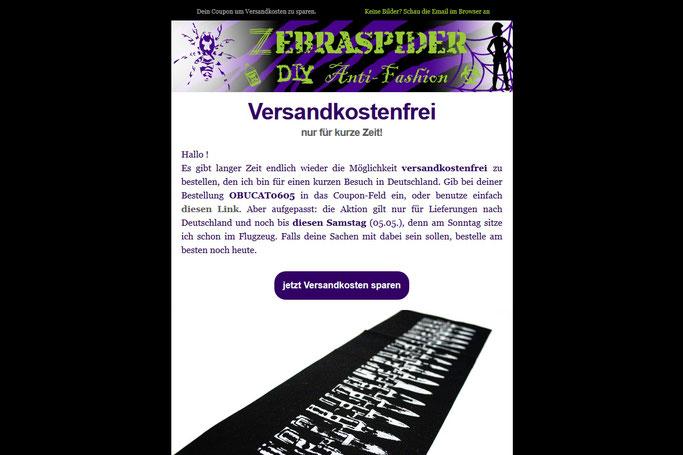 Warum du die Zebraspider Emails abonnieren solltest - versandkostenfrei Aktion - Zebraspider DIY Anti-Fashion Blog