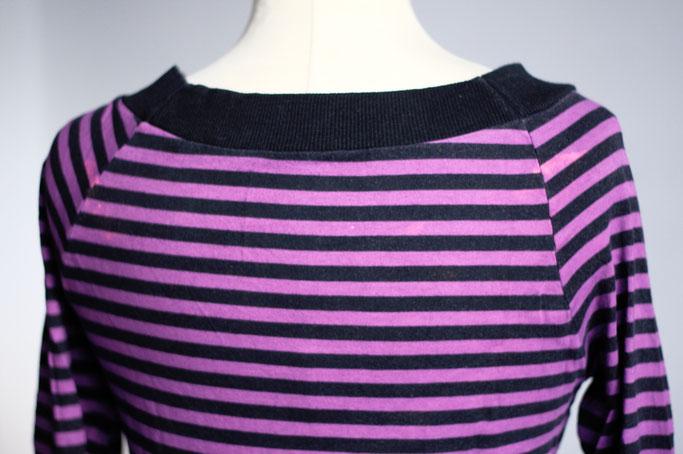 Flohmarkt: Oberteile - Langarm Shirt lila geringelt - Zebraspider DIY Anti-Fashion Blog