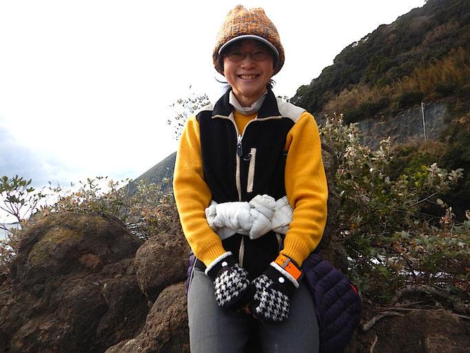 今井浜の大岩登頂