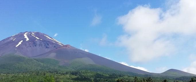 水ヶ塚より 富士山、宝永火口  右端は二ツ塚上塚