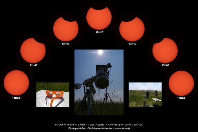 Eclipse partielle de Soleil, 10 juin 2021, Meuse, Lorraine, Grand Est, France.