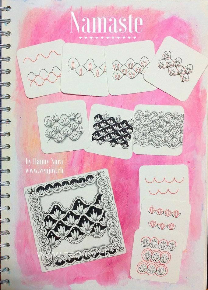 Namaste pattern step out by Zenjoy zentangle