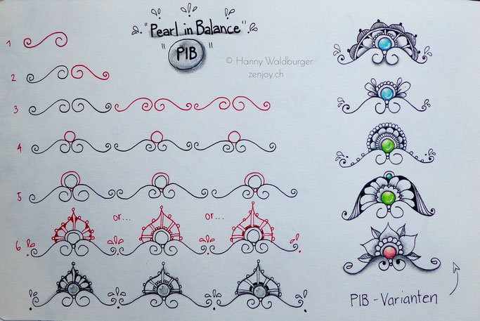 PiB Pearl in Balance stepout zentangle