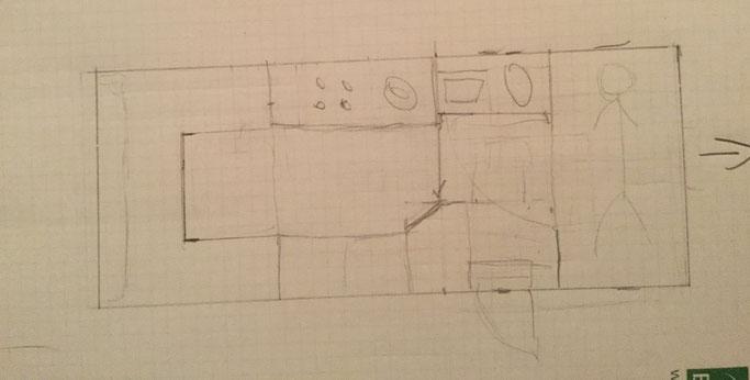 Erste Entwurfsskizze, geplant im Kurzurlaub an der Schlei