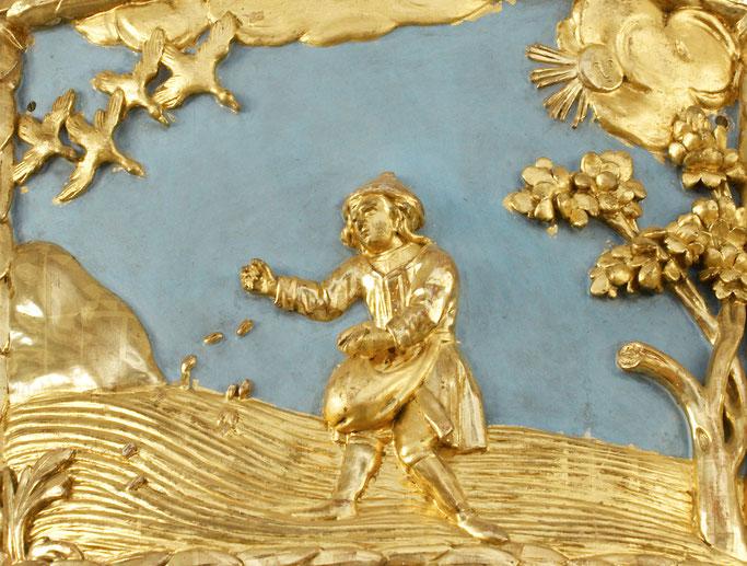 Der Sämann. Relief auf dem Kanzelaltar der Evangelischen Kirche Mörbisch am See