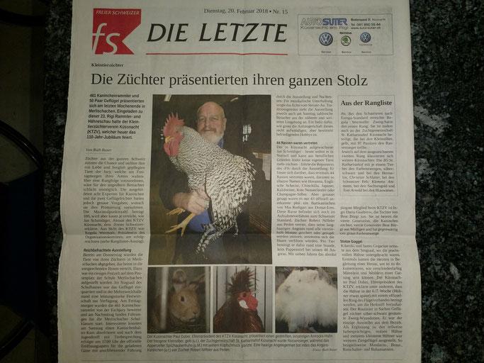 """Auf der Seite """"DIE LETZTE"""" im Freien Schweizer"""