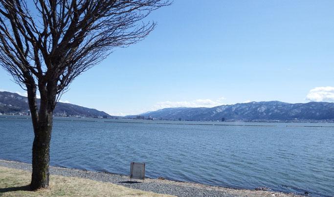 風のある諏訪湖…、富士山は見えなくなっていました。