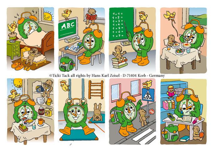 Illustrationen aus Die Uhrzeit lernen mit Ticki Tack und seinen Freunden Silas und Pipsi