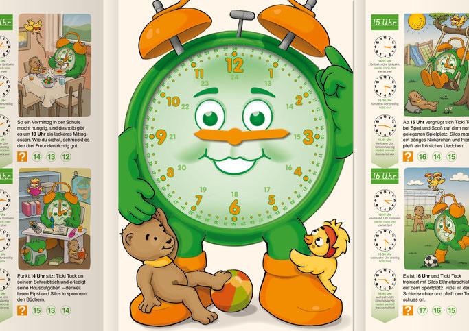 Die Uhrzeit lernen mit Ticki Tack und seinen Freunden - große Lernuhr im Inneren