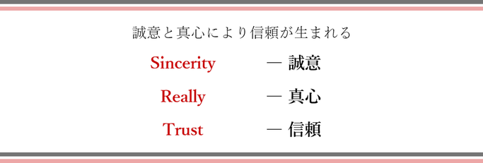 誠意と真心により信頼がうまれる Sincerity誠意 Really真心 Trust信頼