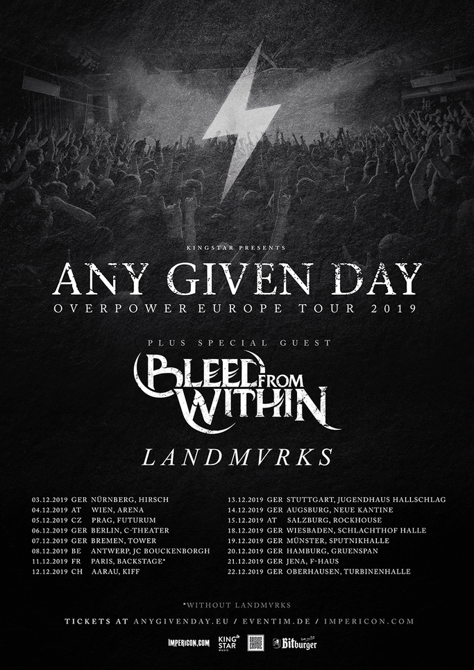 BLEED FROM WITHIN – announce tour with Any Given Day and Landmvrks, news, rockers and other animals