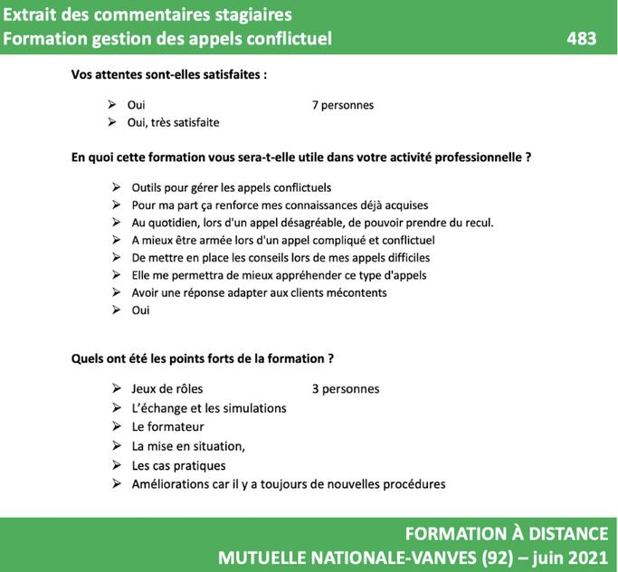 SATISFACTION DES STAGIAIRES FORMATION GESTION DES APPELS CONFLICTUELS 2021 483