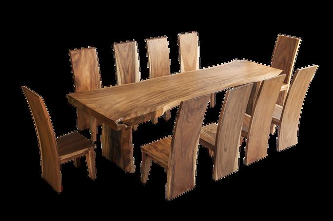 Beispiel für einen gelieferten und aufgestellten Mahagonitisch (Stühle zusätzliche Kosten)