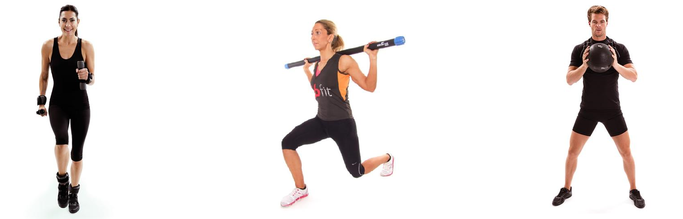 Aerobic Fitness training using dumbbells, ankle and wrist weights, body bars and slam balls