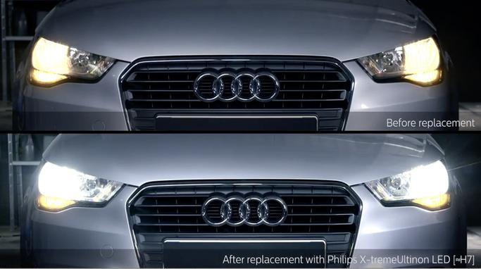 Vor und Nach LED Umbau an einem  AUDI A1  H7 LED Philips X-TremeUltinon