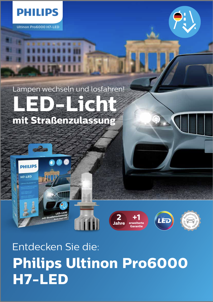 PHILIPS H7 LED Licht PRO6000 mit Strassenzulassung