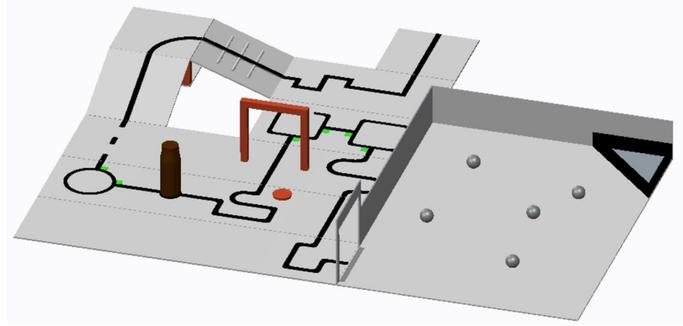 Vereinfachte Darstellung des Spielfeldes