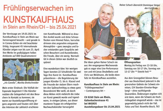 Dominique Steiger-Acrylartgalerie-Basel_Presse, Zeitungsbericht-Kunstausstellung Kunstkaufhaus Stein am Rhein,