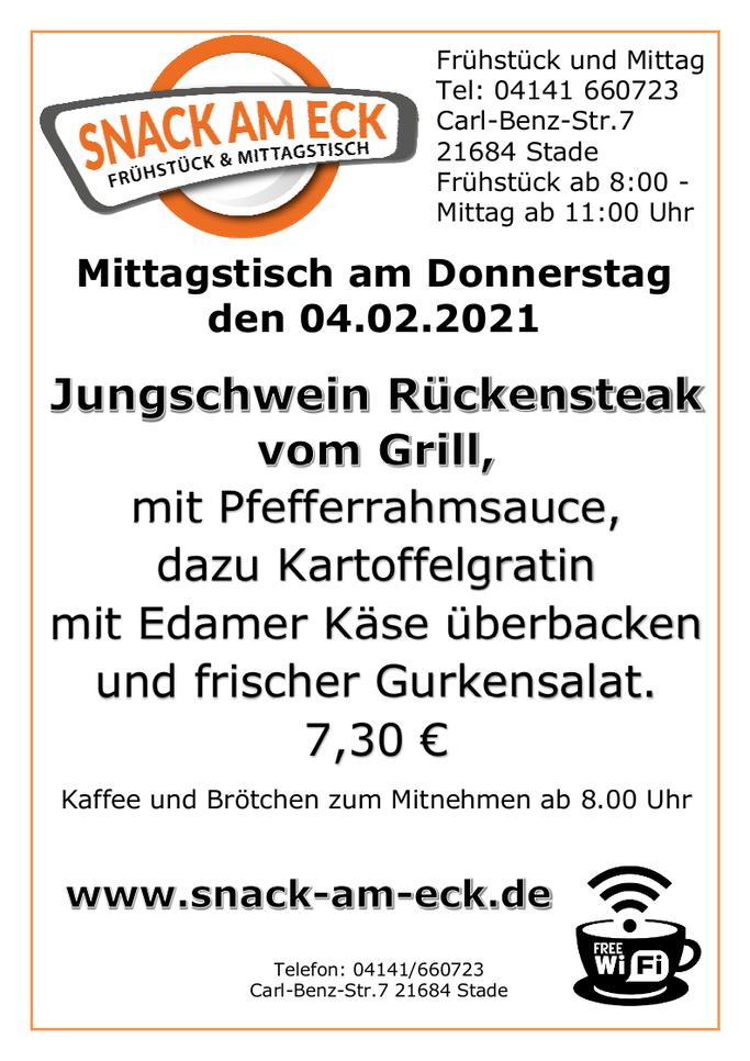 Mittagstisch am Donnerstag den 04.02.2021: Jungschwein Rückensteak vom Grill, mit Pfefferrahmsauce, dazu Kartoffelgratin mit Edamer Käse überbacken und frischer Gurkensalat. 7,30 €