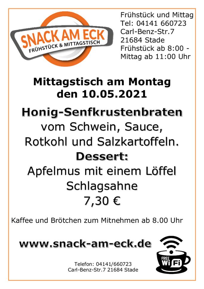 Mittagstisch am Montag den 10.05.2021: Honig-Senfkrustenbraten vom Schwein, Sauce, Rotkohl und Salzkartoffeln. Dessert: Apfelmus mit einem Löffel Schlagsahne  7,30 €