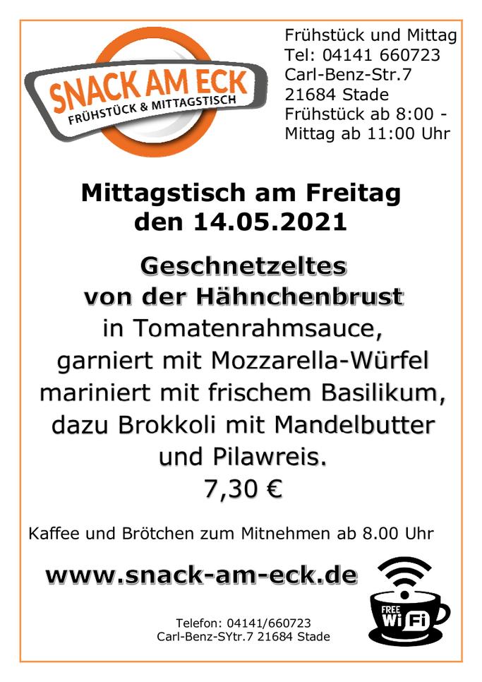 Mittagstisch am Freitag den 14.05.2021: Geschnetzeltes von der Hähnchenbrust in Tomatenrahmsauce, garniert mit Mozzarella-Würfel mariniert mit frischem Basilikum, dazu Brokkolie mit Mandelbutter und Pilavreis. 7,30 €