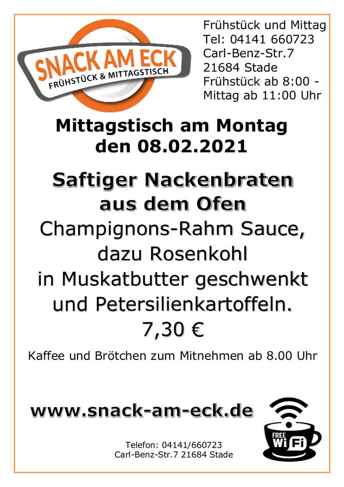 Mittagstisch am Montag den 08.02.201: Saftiger Nackenbraten aus dem Ofen an frischen Champignons in Rahm, dazu Rosenkohl in Muskatbutter geschwenkt und Petersilienkartoffeln. 7,30 €