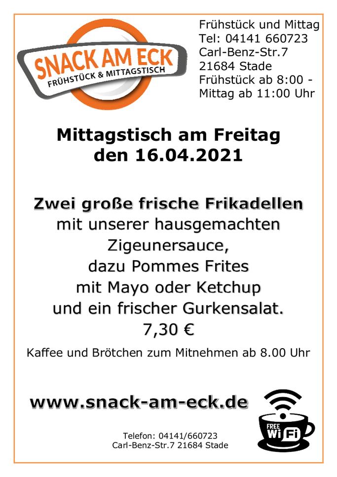 Mittagstisch am Freitag den 16.04.2021: Zwei große frische Frikadellen mit unserer hausgemachten Zigeunersauce, dazu Pommes Frites mit Mayo oder Ketchup und ein frischer Gurkensalat. 7,30 €