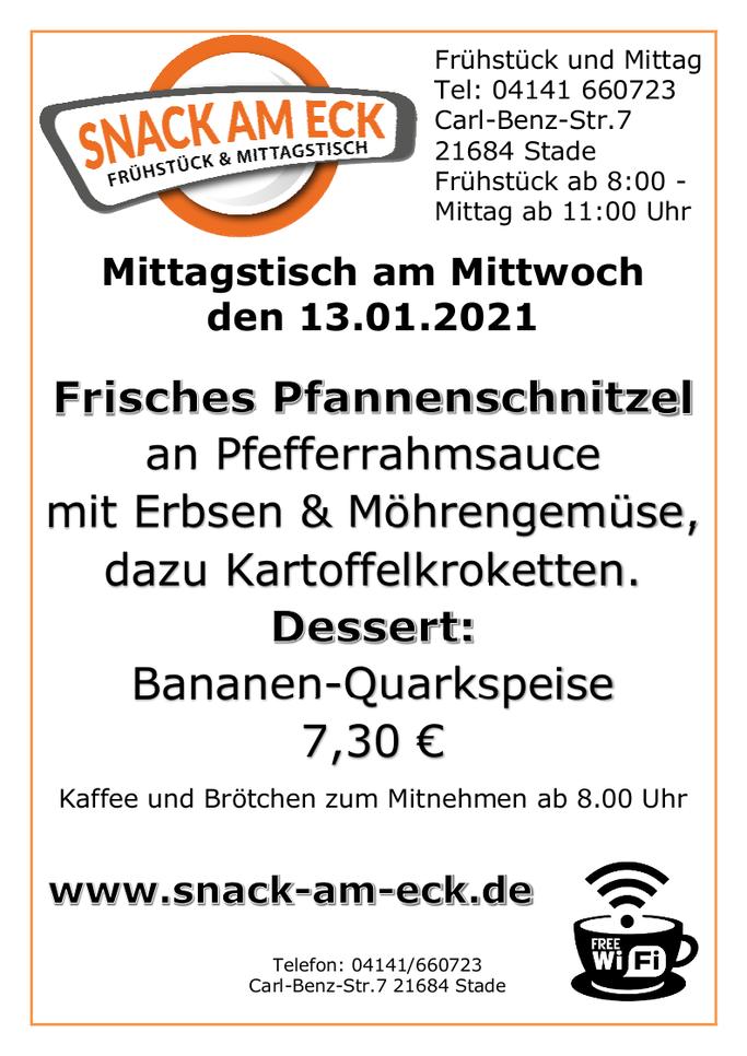 Mittagstisch am Mittwoch den 13.01.2021: Frisches Pfannenschnitzel an Pfefferrahmsauce mit Erbsen & Möhrengemüse, dazu Kartoffelkroketten. Dessert Bananen-Quarkspeise 7,30 €