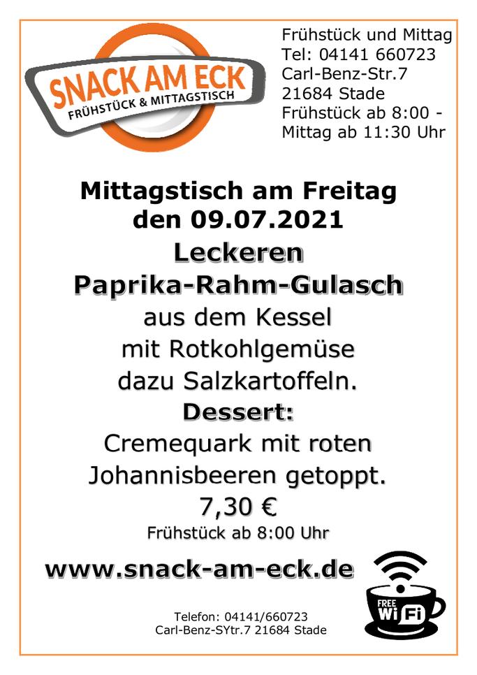 Mittagstisch am Freitag den 09.07.2021: Leckeren Paprika-Rahm-Gulasch aus dem Kessel mit Rotkohlgemüse dazu Salzkartoffeln. Dessert: Cremequark mit roten Johannisbeeren getoppt. 7,30 €