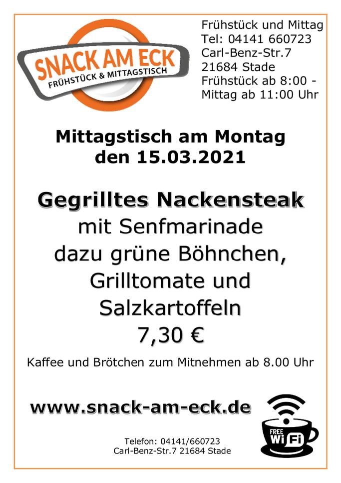 Mittagstisch am Montag den 15.03.2021: Gegrilltes Nackensteak mit Senfmarinade dazu grüne Böhnchen Grilltomate und Salzkartoffeln. 7,30 €