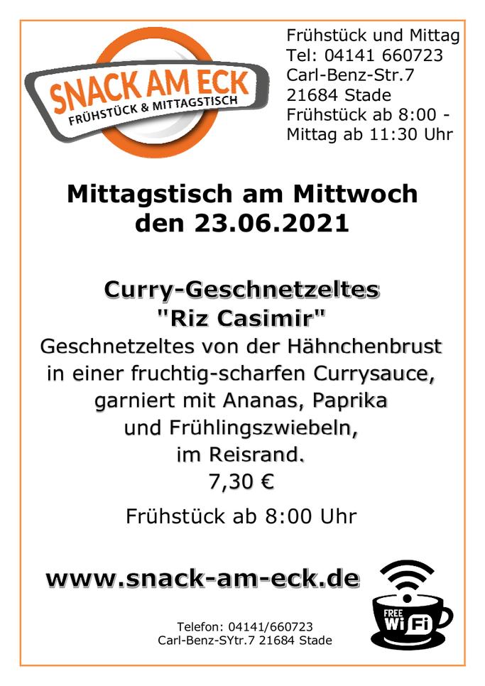 """Mittagstisch am Mittwoch den 23.06.2021: Curry-Geschnetzeltes  """"Riz Casimir"""" Geschnetzeltes von der Hähnchenbrust in einer fruchtig-scharfen Currysauce, garniert mit Ananas, Paprika und Frühlingszwiebeln, im Reisrand. 7,30 €"""