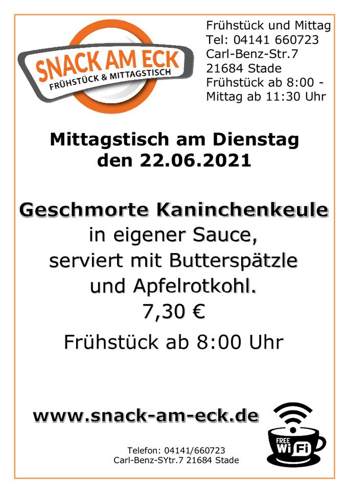Mittagstisch am Dienstag den 22.06.2021: Geschmorte Kaninchenkeule in eigener Sauce, serviert mit Butterspätzle und Apfelrotkohl. 7,30 €