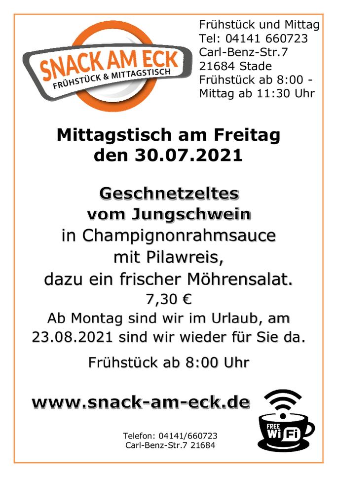 Mittagstisch am Freitag den 30.07.2021: Geschnetzeltes vom Jungschwein in Champignonrahmsauce mit Pilawreis, dazu ein frischer Möhrensalat. 7,30 €