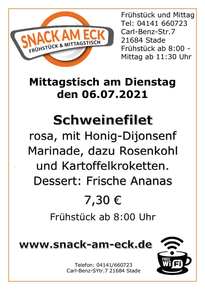 Mittagstisch am Dienstags den 06.07.2021: Schweinefilet, rosa mit Honig-Dijonsenf Marinade, dazu Rosenkohl und Kartoffelkroketten. Dessert: Frische Ananas