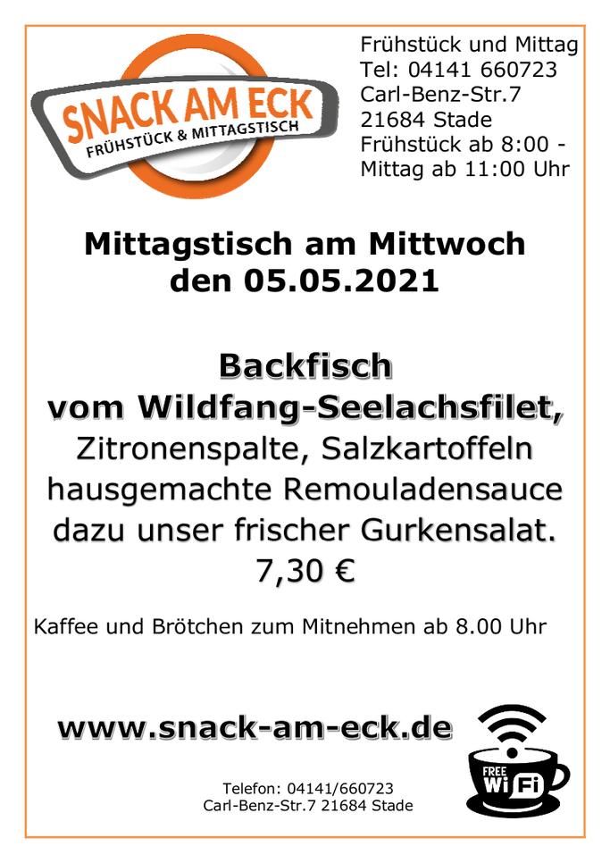 Mittagstisch am Mittwoch den 05.05.2021: Backfisch vom Wildfang-Seelachsfilet, Zitronenspalte, Salzkartoffeln hausgemachte Remouladensauce dazu unser frischer Gurkensalat. 7,30 €