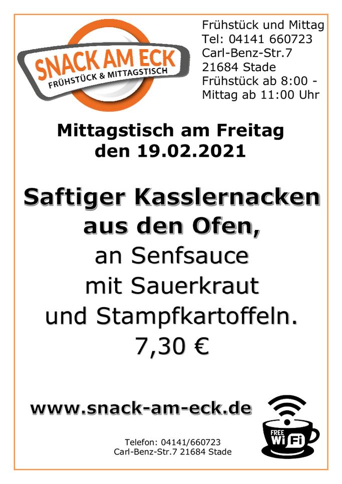 Mittagstisch am Freitag den 19.02.2021: Saftiger Kasslernacken aus den Ofen an Senfsauce mit Sauerkraut und Stampfkartoffeln. 7,30 €