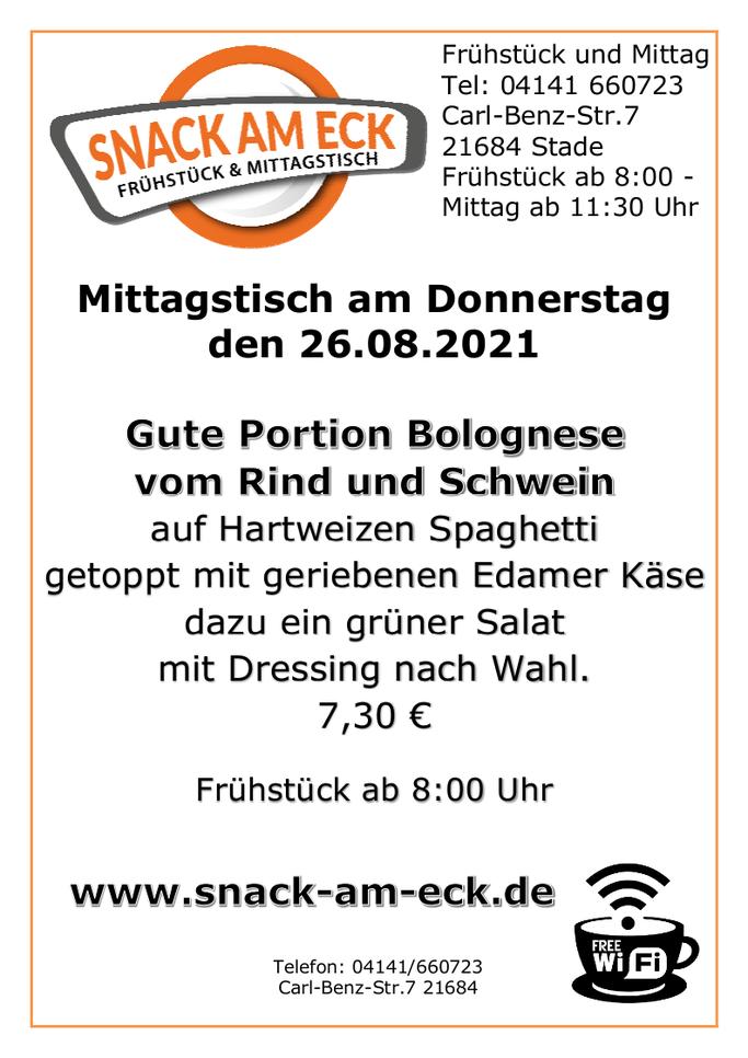 Mittagstisch am Donnerstag den 26.08.2021: Gute Portion Bolognese vom Rind und Schwein auf Hartweizen Spaghetti getoppt mit geriebenen Edamer Käse dazu ein grüner Salat mit Dressing nach Wahl. 7,30 €