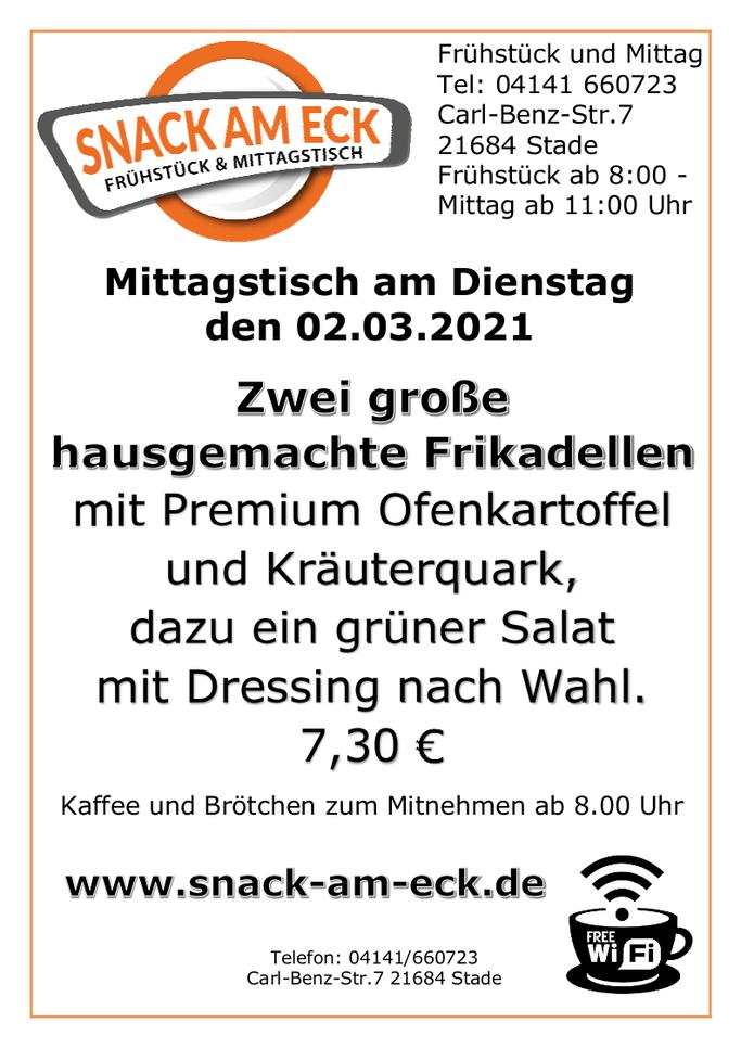 Mittagstisch am Dienstag den 02.03.2021: Zwei große hausgemachte Frikadellen mit Premium Ofenkartoffel und Kräuterquark, dazu ein Salat mit Dressing nach Wahl. 7,30 €