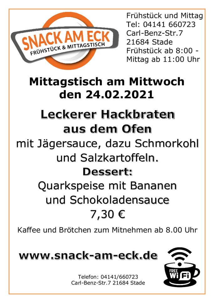 Mittagstisch am Mittwoch den 24.02.2021:Leckerer Hackbraten aus dem Ofen mit Jägersauce, dazu Schmorkohl und Salzkartoffeln. Dessert: Quarkspeise mit Bananen und Schokoladensauce 7,30 €