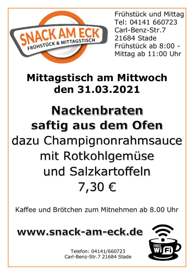 Mittagstisch am Mittwoch den 31.03.2021: Nackenbraten saftig aus dem Ofen dazu Champignonrahmsauce mit Rotkohlgemüse und Salzkartoffeln 7,30 €
