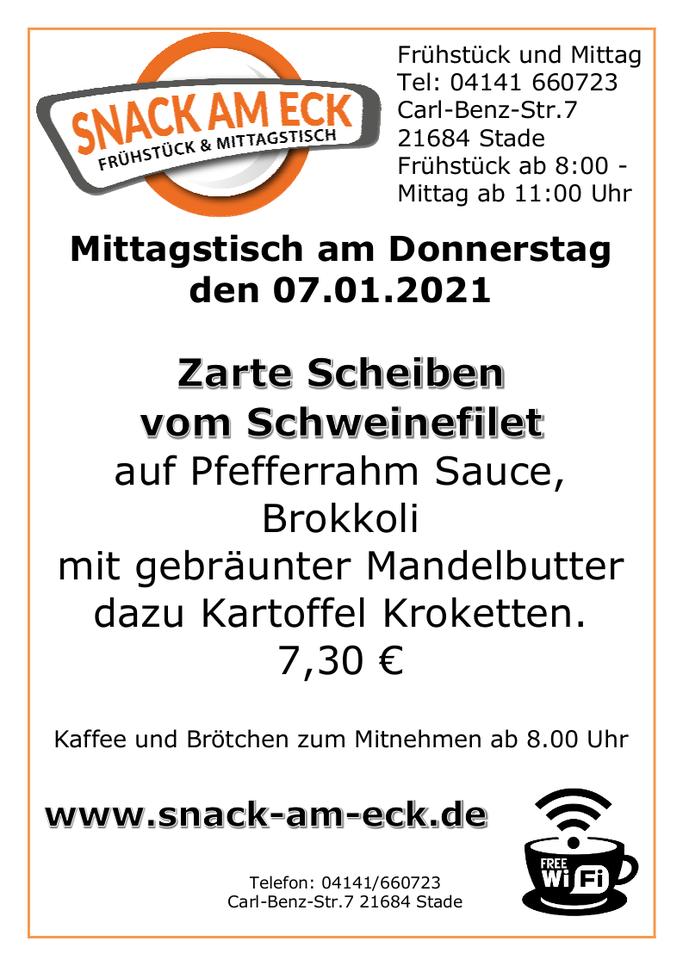 Mittagstisch am Donnerstag den 07.01.2021: Zarte Scheiben vom Schweinefilet auf Pfefferrahm Sauce, Brokkoli mit gebräunter Mandelbutter dazu Kartoffel Kroketten.  7,30 €