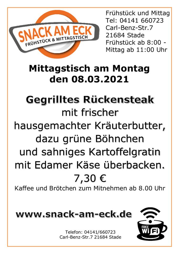 Mittagstisch am Montag den 08.03.2021: Gegrilltes Rückensteak mit frischer hausgemachter Kräuterbutter, dazu grüne Böhnchen und sahniges Kartoffelgratin mit Edamer Käse überbacken. 7,30 €