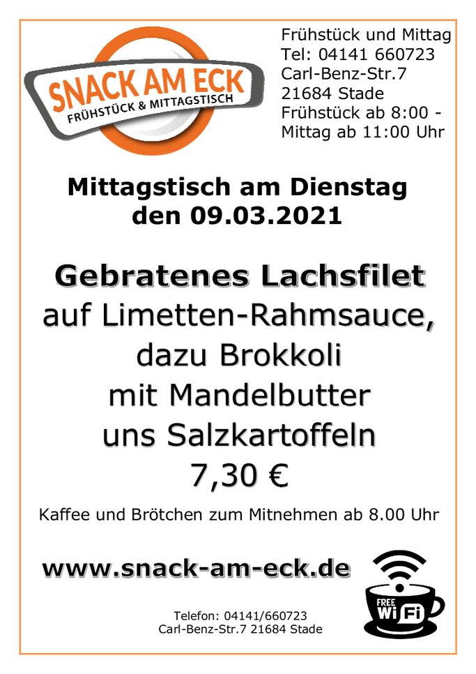 Mittagstisch am Dienstag den 09.03.2021: Gebratenes Lachsfilet auf Limetten-Rahmsauce, dazu Brokkoli mit Mandelbutter uns Salzkartoffeln 7,30 €